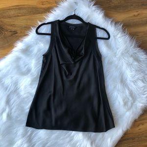 THEORY Silk Sleeveless Top Cami Black Draped Tank